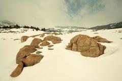 Paesaggio dello Snowy in Pyrenees Fotografie Stock Libere da Diritti