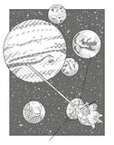 Paesaggio dello spazio con Giove ed il veicolo spaziale Fotografie Stock Libere da Diritti