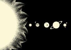 Paesaggio dello spazio con la vista scenica sulla parata dei pianeti fatti con retro stile del dotwork royalty illustrazione gratis