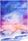 Paesaggio dello spazio di inverno della natura dell'aurora boreale dell'acquerello Fotografia Stock Libera da Diritti