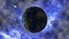 Paesaggio dello spazio Pianeta contro lo sfondo della nebulosa Elementi di questa immagine ammobiliati dalla NASA immagini stock