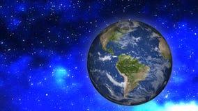 Paesaggio dello spazio Terra da spazio nei precedenti delle stelle e delle meteoriti Elementi di questa immagine ammobiliati dall fotografia stock libera da diritti