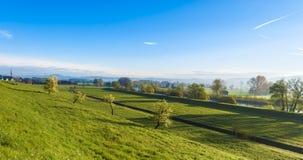 Paesaggio dello svizzero con i prati Fotografie Stock Libere da Diritti
