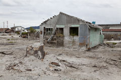 Paesaggio desolato dopo l'eruzione del vulcano in Chaiten. Fotografie Stock Libere da Diritti