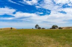 Paesaggio di agricoltura del recinto chiuso pittoresco il giorno soleggiato Fotografia Stock