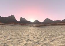paesaggio di alba del deserto della rappresentazione 3D Fotografie Stock Libere da Diritti