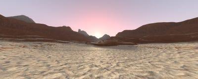 paesaggio di alba del deserto della rappresentazione 3D Immagini Stock Libere da Diritti