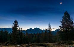 Paesaggio di alba delle dolomia italiane Fotografia Stock