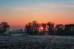 Paesaggio di alba di agricoltura Fotografia Stock Libera da Diritti