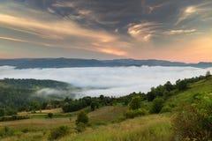 Paesaggio di alba di estate nelle montagne carpatiche Fotografia Stock