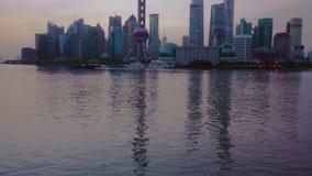Paesaggio di alba di Shanghai Bund stock footage