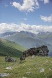 Paesaggio di Altai della montagna l'illustrazione colorata della mano ha fatto l'estate della natura Fotografia Stock