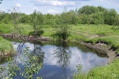 Paesaggio di anno con il fiume Fotografia Stock Libera da Diritti