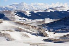 Paesaggio di Apennines con neve Fotografia Stock