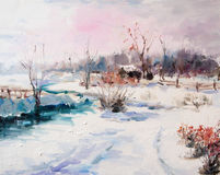 Paesaggio di Art Oil-Painting Picture Beautiful Winter Immagine Stock