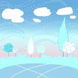 Paesaggio di Autemn con gli alberi e le nuvole Fotografia Stock Libera da Diritti