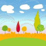 Paesaggio di Autemn con gli alberi e le nuvole Fotografie Stock Libere da Diritti