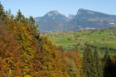 Paesaggio di autunno, alpi svizzere, Svizzera Fotografia Stock Libera da Diritti