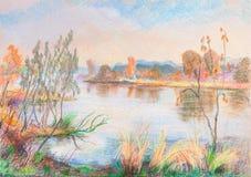 Paesaggio di autunno con il fiume illustrazione vettoriale