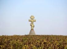 Paesaggio di autunno con il girasole e l'incrocio Fotografia Stock