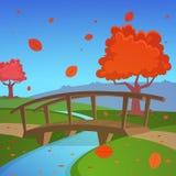 Paesaggio di autunno con il ponte Fotografie Stock Libere da Diritti
