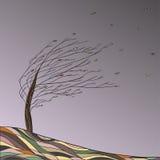 Paesaggio di autunno con l'albero e le foglie cadenti Illustrazione Vettoriale