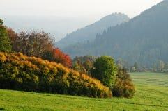 Paesaggio di autunno con le montagne in foschia nebbiosa Immagini Stock
