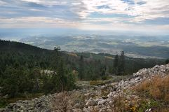 Paesaggio di autunno da una collina Immagini Stock Libere da Diritti