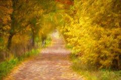Paesaggio di autunno della pittura a olio Fotografia Stock