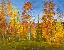 Paesaggio di autunno, pittura a olio Fotografia Stock