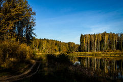 Paesaggio di autunno su un lago in Russia centrale Fotografie Stock Libere da Diritti