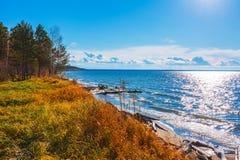 Paesaggio di autunno sul fiume L'Ob', Siberia, Russia fotografia stock libera da diritti