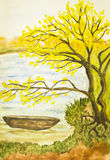 Paesaggio di autunno, verniciante Immagine Stock