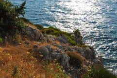 Paesaggio di Beautiuful del mar Egeo fotografie stock libere da diritti
