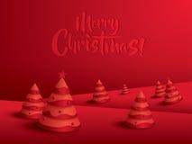 Paesaggio di Buon Natale Albero di Natale Immagini Stock Libere da Diritti