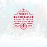 Paesaggio di Buon Natale annata retro Fotografie Stock