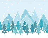 Paesaggio di Buon Natale Vettore Cartolina di Natale con gli alberi e le montagne illustrazione vettoriale