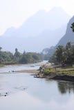 Paesaggio di canzone del fiume, Laos. Immagine Stock