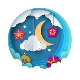 Paesaggio di carta di notte del fumetto Luna, stella, nuvola, fiore royalty illustrazione gratis