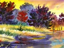 Paesaggio di colore di acqua Immagine Stock