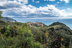 Paesaggio di Corniglia Cinque Terre Italy Fotografie Stock Libere da Diritti