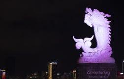 PAESAGGIO di DA NANG - Nam Hai Temple - statua del leone fotografia stock libera da diritti