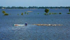 Paesaggio di delta del Mekong nella stagione di inondazione Fotografia Stock Libera da Diritti