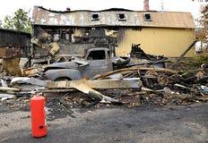 Paesaggio di disastro del fuoco Immagine Stock Libera da Diritti