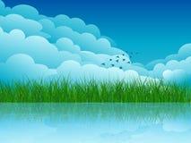 Paesaggio di estate, cielo, nuvole, costa, uccelli Fotografia Stock
