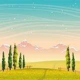 Paesaggio di estate - cipresso, montagne, campo, fiori Cielo notturno royalty illustrazione gratis