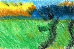 Paesaggio di estate con erba verde intenso Il lavoro dell'autore Immagine Stock