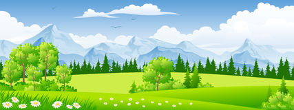 Paesaggio di estate con gli alberi Fotografia Stock Libera da Diritti