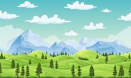 Paesaggio di estate con gli alberi e le montagne Fotografia Stock Libera da Diritti