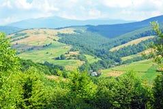 Paesaggio di estate con i mucchi di fieno Immagine Stock Libera da Diritti